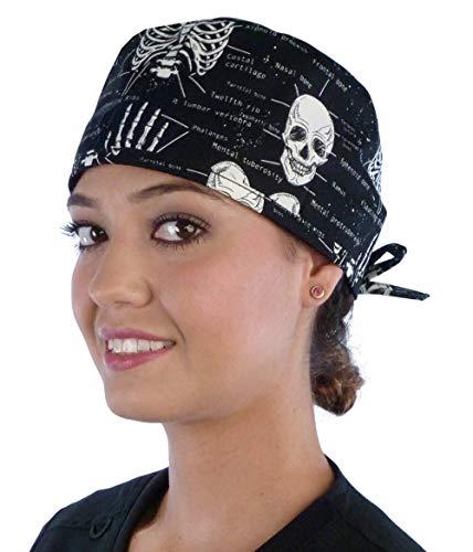 Mens and Womens Medical Scrub Cap - Human Body Skeleton (Glow in The Dark)