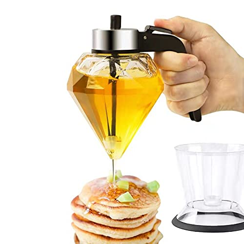Conworld Honey Dispenser Glass, Syrup Dispenser No Drip with Stand, Olive Oil Dispenser Bottle for Kitchen, Stainless Steel Cover, Beautiful Honey Containes with Diamond Shape, 6.8-Ounce
