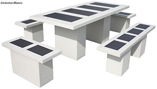 Mesa Comedor DE Jardin con 4 Bancos DE Piedra Artificial con Fibra. LIVINSTON Color (Blanco)