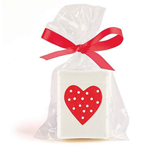 DISOK - Jabón Corazón en bolsa de regalos + lazo. Jabones originales como detalle de bodas, jabones naturales para boda. Detalles para bodas.