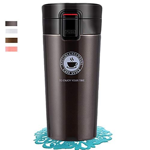 Coffee Cup Thermos Flask Double Wall Vacuum Insulated Travel Mug Stainless Steel Vacuum Mug, Portable Leakproof Drinking Cup Vacuum Bottle with Lids for Men and Women Cold or Hot Drinks (Brown)