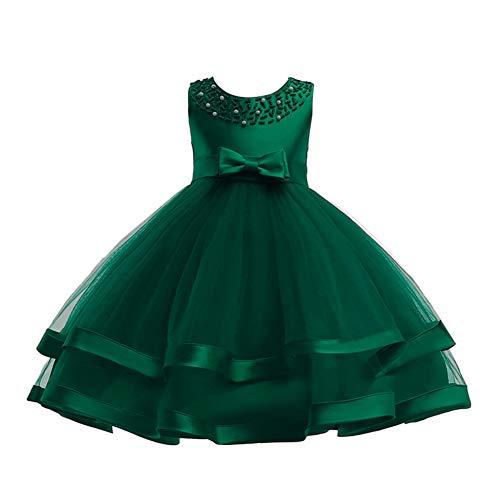 COMISARA Little Girl Dress Kids Wedding Pageant Holiday Prom Tutu Bridesmaid Dresses Size 8T (Green, 140)