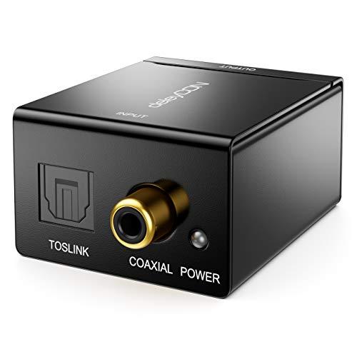 deleyCON Digital zu Analog Audio Konverter Audiowandler RCA Toslink S/PDIF zu Cinch Optisch + RCA Koaxial Audio Wandler TV DVD HiFi-Receiver