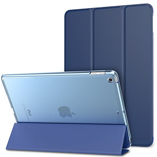 MoKo Case Fit 2018/2017 iPad 9.7 5th / 6th Generation, Slim Lightweight Smart Shell Stand Cover with Translucent Frosted Back Protector Fit iPad 9.7 Inch 2018/2017, Navy BLUE(Auto Wake/Sleep)