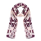 BESPORTBLE Butterfly Scarf Printed Long Comfortable Fashion Shawl Wrap Soft Neckerchief Voile Scarf for Women Ladies Girls