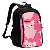 asfg Resistente a Las Manchas Pig Pink Multifunctional Personalized Customized USB Backpack, Student School Outdoor Backpack,Travel Bag Laptop Bookbags Business Daypack.