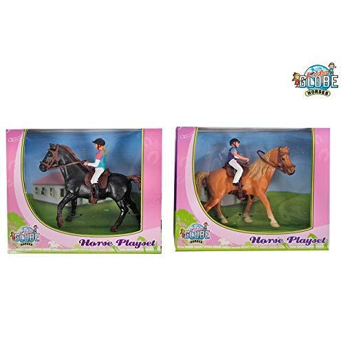 Onbekend Kids Globe donkerbruin paard met Amazon 640078B