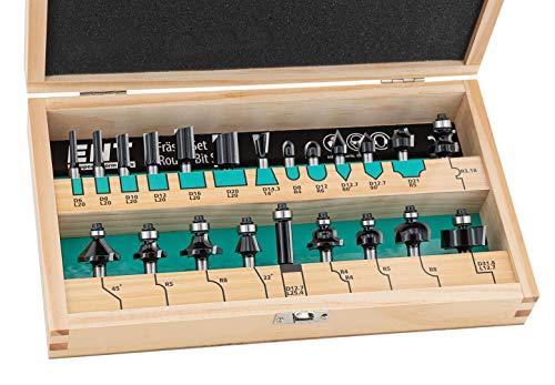 ENT 09022HKB 22-tlg. Fräser Set in Echtholzkassette - Schaft 8mm - Hartmetall-Schneiden - Einsatz für die Oberfräse