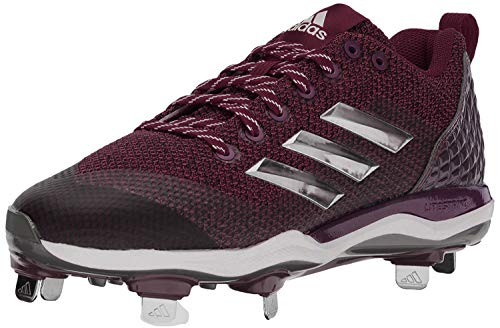 adidas Men's Freak X Carbon Mid Baseball Shoe, Maroon/Metallic Silver/White, 9 Medium US