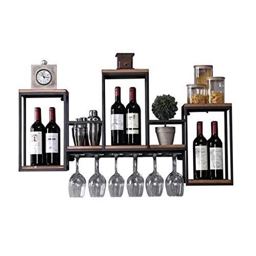 LJYY Estante para Vino de Pared Retro Industrial |Soporte para Copa de Vino |Botelleros de Metal para Vino |Vinoteca de Pared |Estantes de Pared