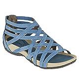 Todidafa - Zapatos planos y tirantes cruzados en forma de almendra, para mujer, con punta abierta para damas, sandalias con pulsera cruzada, Mujer, azul, 38 EU