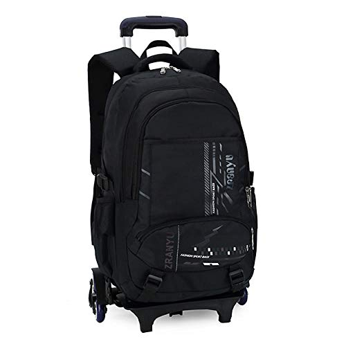 ZZLHHD Removable Kids Trolley Schoolbag,Large-capacity tie rod bag, hand trap-black_Six rounds,Detachable Wheeled Backpack for Kids