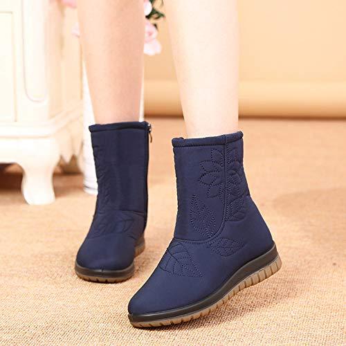 Zapatos Invierno Mujer Botas De Nieve, Cremallera Lateral Bordados Azul Tubo Corto Invierno Cálido Suave Tubo Medio Madre Middle- Aged Confortables Botas De Algodón Silvestre Mujer Antideslizante Ext