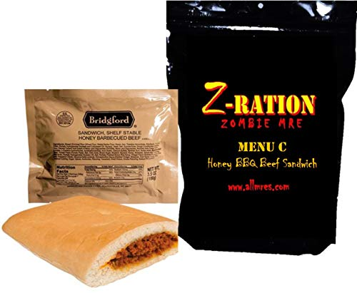 MRE Z-Ration (Zombie MRE) Custom Meals Ready to Eat! (MENU C - Honey BBQ Beef Sandwich)