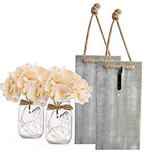 Mason Jar Sconces for Home Decor, Rustic Wall Sconces with LED Fairy Lights and Silk Hydrangea Flowers, 6-Hour Timer, Farmhouse Home Wall Decoration (Set of 2)