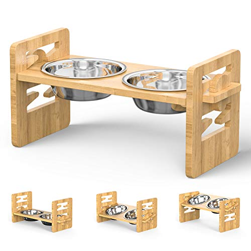 Erhöhte Hundenäpfe für Kleine und Mittelgroße Hunde und Katzen, Verstellbarer Bambus-Futterspender für Haustiere, Erhöhtes Schüssel-Set mit 2 Edelstahlnäpfen und Rutschfesten Füßen