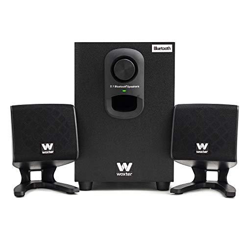 Woxter Big Bass 110r - Altavoces estéreo Bluetooth 2.1 con subwoofer de madera, Bass réflex, 20W de potencia y conexión estéreo RCA de 3,5mm. Ideal para PC / Smartphones y videoconsolas.