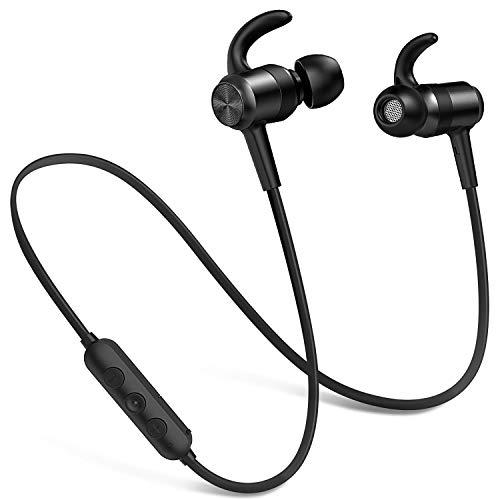 Picun Bluetooth Kopfhörer Kabellos, IPX7 Wasserdicht Kopfhörer Sport, 10 Stunden Bass Sound Magnetisches Ohrhörer Joggen/Laufen, In Ear Kopfhörer mit HD Mikrofon für iPhone Android (Schwarz)