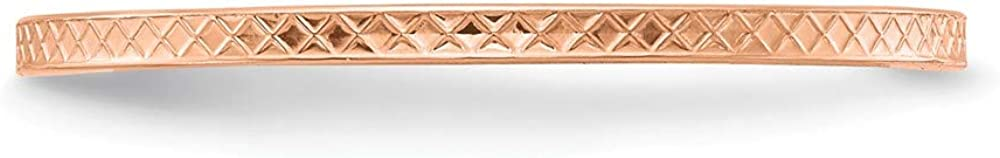 10k Rose Gold 1.2mm Criss Cross Religious Pattern Stackable Wedding Ring Band Size 8.00 Fancy/Fine Jewelry For Women Gifts For Her