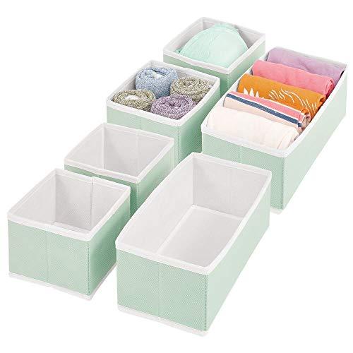 mDesign Juego de 6 Cajas organizadoras – Cestas de Tela de Diferentes tamaños para cajones – Organizadores para armarios para Guardar Calcetines, Ropa Interior y más – Verde Menta/Blanco