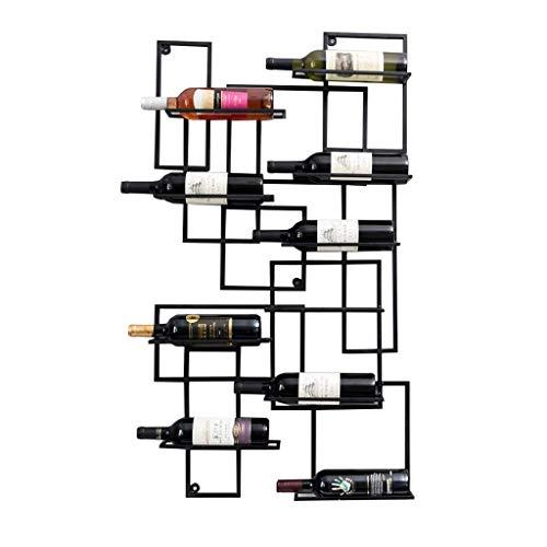 WYZXR Soporte para botellas de vino montado en la pared, 108 cm, organizador de botellas de vino de metal de hierro, puede contener 10 botellas, color negro