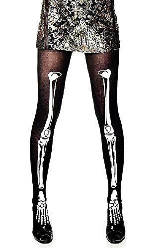 Socken - Strumpfhosen - Gamaschen - Skelett - sexy - Verkleidung - Halloween - Karneval - Masken - Kostüm - Schwarzweiss-Farbe - Frau - Mädchen - eine Größe