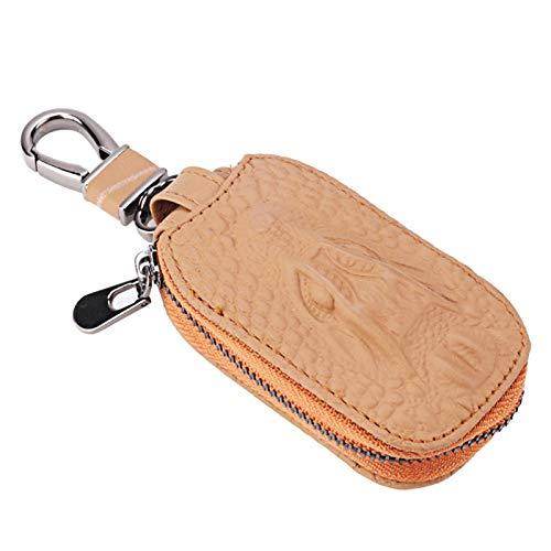 Bolsa con cremallera No tóxico Ecológico Llavero inteligente Material de cuero marrón Llavero seguro y duradero Bolsa con cremallera para la mayoría de los llaveros y alarmas de automóviles