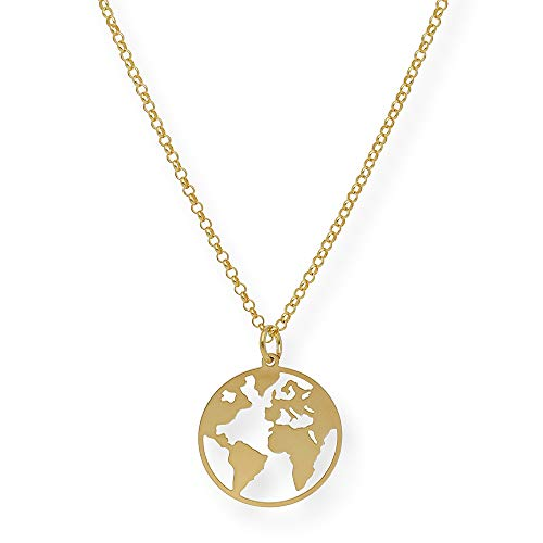 Colgante Bola del mundo en plata de primera ley (Plata dorada)