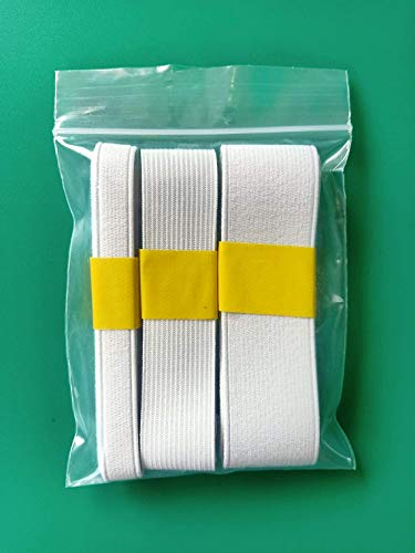3 Yards Bulk Mix Size 1 1/2'', 1', 1/2' Inch Flat Ribbon Elastic Bands White Sewing Fabric for Garment Accessory Waistband Pants Bra Bags Headband Cloth DIY Craft Sewing Supplies