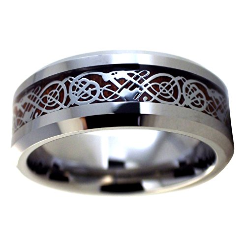 Fantasy Forge Jewelry Tungsten Celtic Dragon Ring Mens Womens Wood Inlay Viking Wedding Band Size 16
