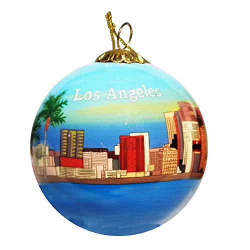 Art Studio Company Hand Painted Glass Christmas Ornament - Los Angeles California Skyline