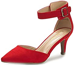 DREAM PAIRS Women's Lowpointed Red Suede Low Heel Dress Pump Shoes - 8 M US