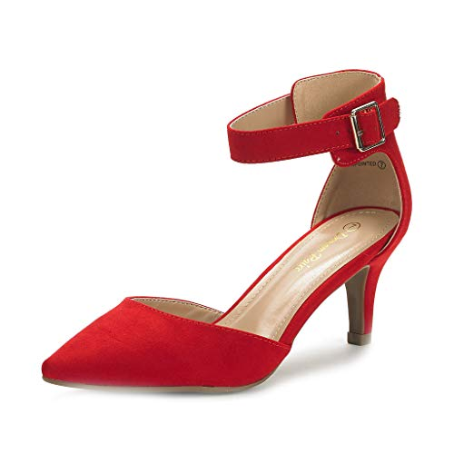 DREAM PAIRS Women's Lowpointed Red Suede Low Heel Dress Pump Shoes - 7.5 M US