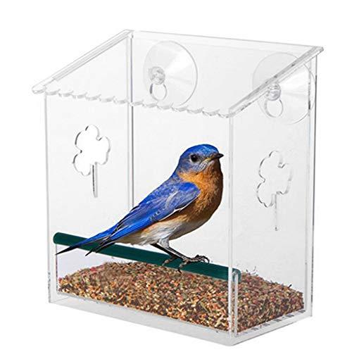 Mangeoire à oiseaux avec ventouses puissantes, en acrylique transparent à suspendre pour fenêtre de mangeoire à oiseaux amovible, facile à recharger.