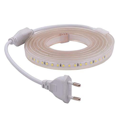 XUNATA 2m 220V Tiras LED, SMD 2835 120LEDs/m, IP67 Impermeable, Escalera de Techo Blancas Tira de LED Cocina Cable Luces LED Blanco frio