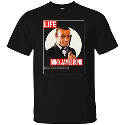 James Bond, Sean Connery, Dr. No, Goldfinger, Thunderball, 007, Life Magazine Mens T Shirt,Black,5XL