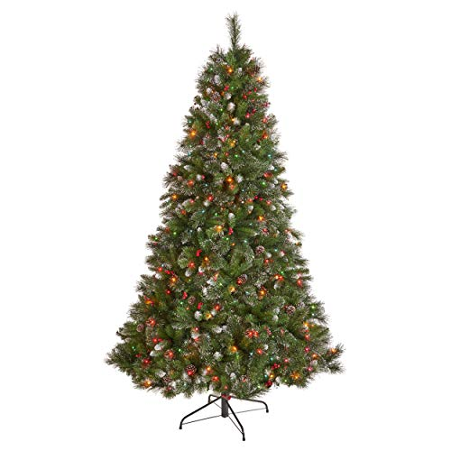 7.5-foot Mixed Spruce Pre-Lit Multi-Colored Light Hinged Artificial Christmas Tree with Glitter Branches, Red Berries, and Pinecones