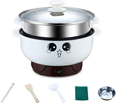 Electric Cooker Skillet,4-IN-1 Multi-function Non-Stick Mini Electric Skillet Mini Electric Hot Pot Cooker Boiler Skillet Pot Noodle Maker Mini Hot Pot (22CM/2.8L (Fits for 2 People), With Steamer)
