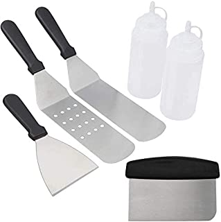 Griddle Accessories BBQ Tool Kit 6pcs Professional Grade Stainless Steel Spatula Grill Set for BBQ Griddle Teppanyaki Cooking