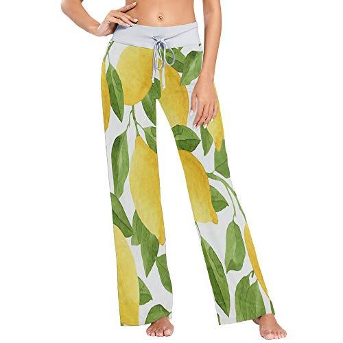 Womens Pajama Lounge Pants Lemom Fruit Watercolor Summer Wide Leg Casual Palazzo Pj Sleep Pants Laides