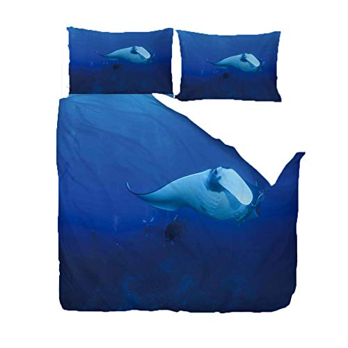 AHCMYK Duvet Cover Set Double Size 78.7x78.7 inch Manta Rays In The Ocean Bedding 3 pcs with Zipper Closure and 2 Pillow covers Ultra Soft Hypoallergenic Microfiber Quilt Cover Sets