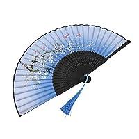 軽量ダンス扇子エレガントな見た目の扇子高品質結婚式のギフトホームオフィスの装飾ステージパフォーマンス小道具(blue)