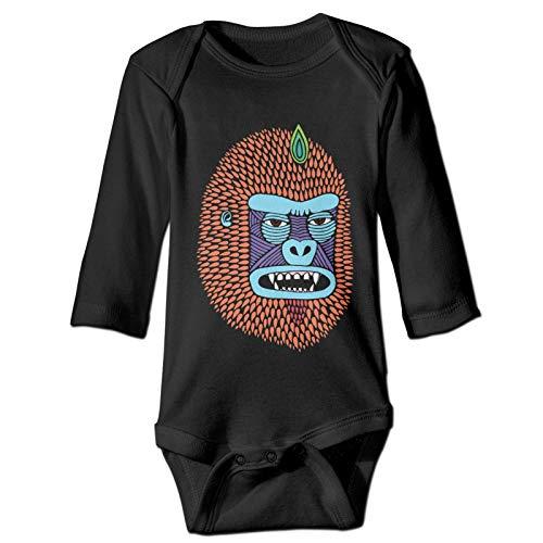 Camisas de manga larga para bebé con diseño de cabeza de Orangutan (2T, negro)
