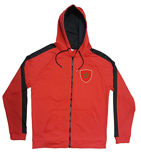 Marokko Jacke Sweater Rot JA GO Morocco Trikot Look Zip Nation Fussball Sport (S)