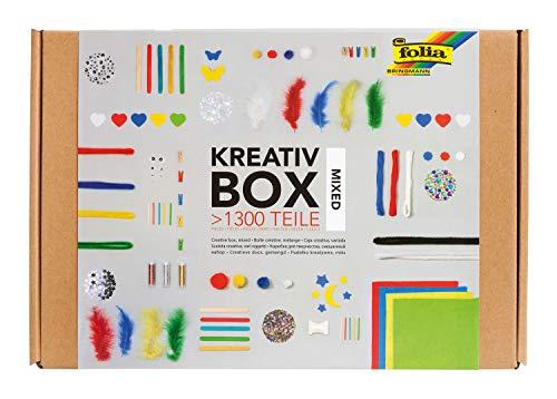 folia 935 - Kreativ Box, Bastelkiste mit buntem Materialmix zum Basteln und Dekorieren, über 1300 Teile
