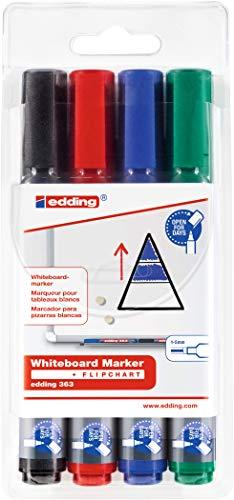 edding 363-4-S - Estuche 4 marcadores para pizarras blancas