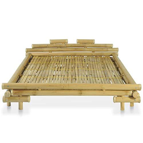 Tidyard Bambus-Bett 140 x 200 cm, Balkenbett,Bambus und natürliches Rattan- und Komfortbett