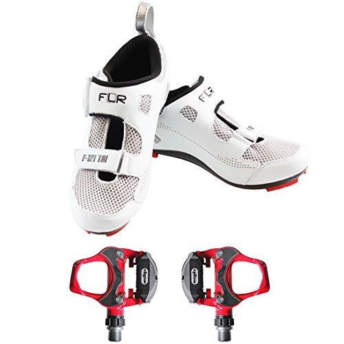 Ftiier Zapatillas de Ciclismo de Carretera F-121 R301, blanco (Blanco), 41 EU