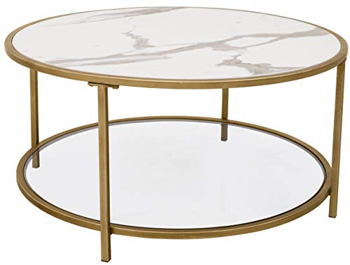 Amazon Brand – Ravenna Home Parker Round Shelf Storage Coffee Table, 31.5'W, Faux Marble/Gold/Glass