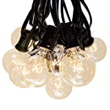50 Foot Globe String Lights - Black Wire - 50 G40 Clear Bulbs (+ 2 Free Spares) for Patio Deck Cafe Bistro and Outdoor Lighting